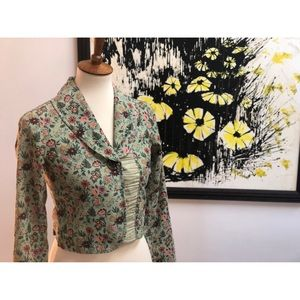 Free People Green Floral Corduroy One Button Coat
